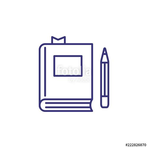 Line icon with bookmark. Textbook clipart assignment book