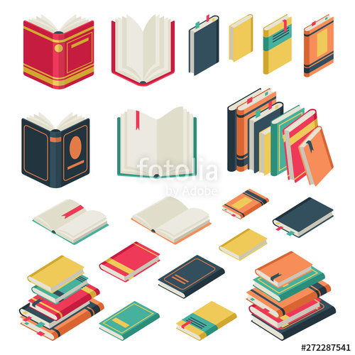 Isometric collection opened and. Textbook clipart book magazine
