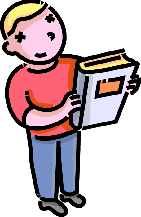 Boy with schoolbook vector. Textbook clipart elementary