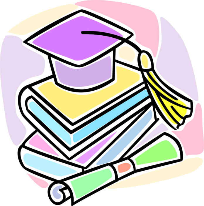 Mortarboard schoolbook diploma vector. Textbook clipart graduation cap