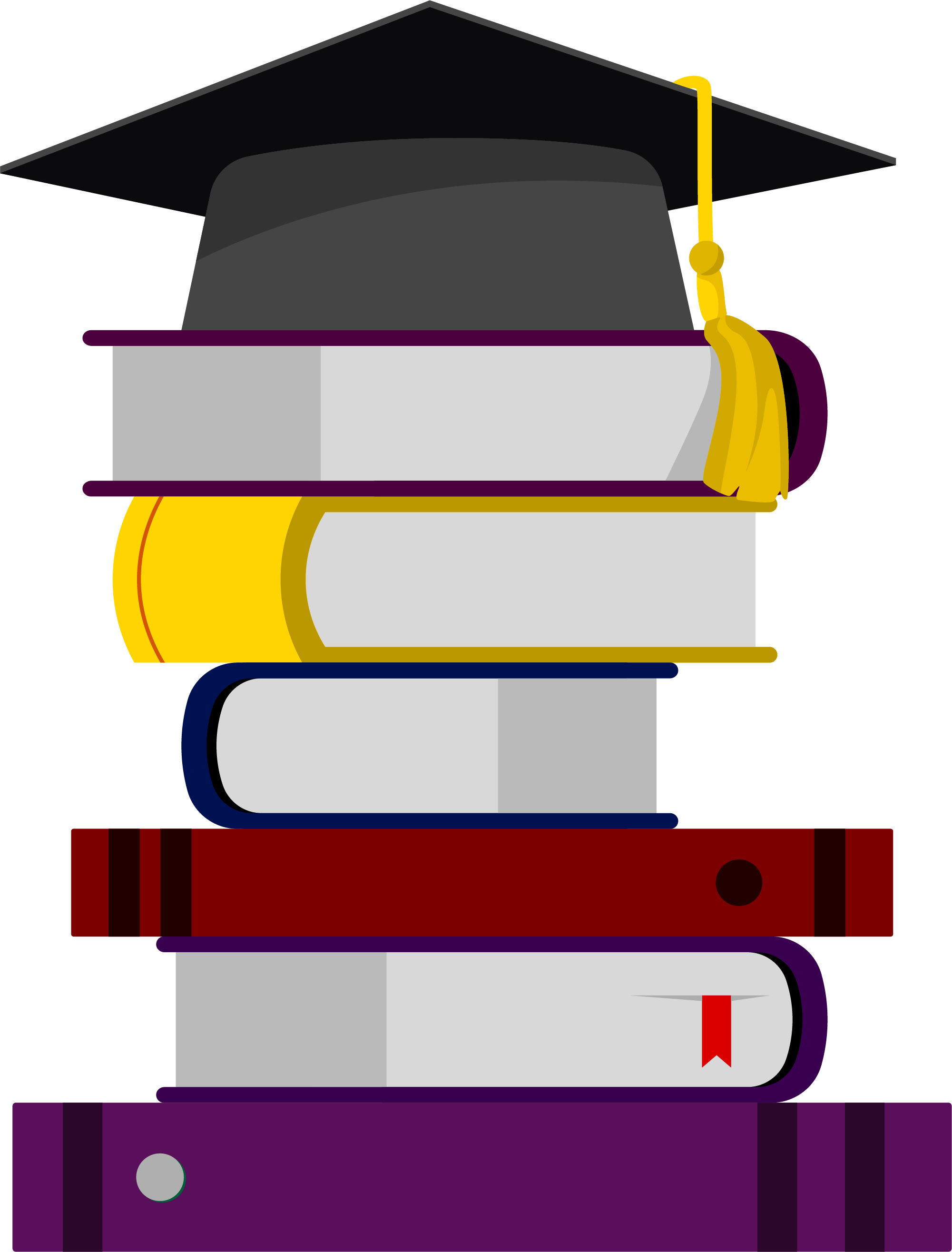 Icon stacked books on. Textbook clipart graduation cap