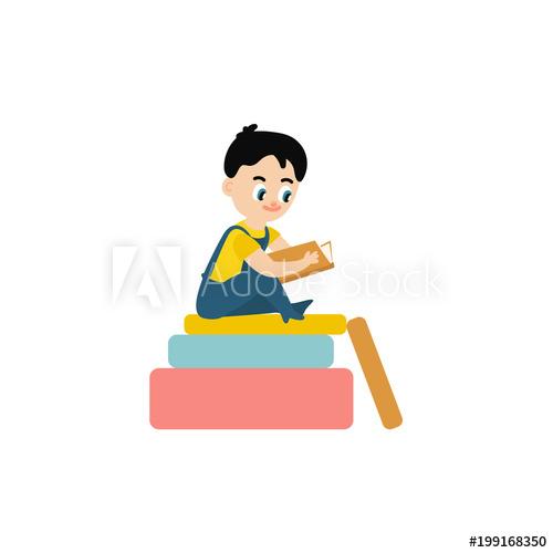 Vector flat small boy. Textbook clipart kindergarten book