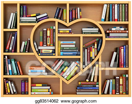 Drawing education concept bookshelf. Textbook clipart old book