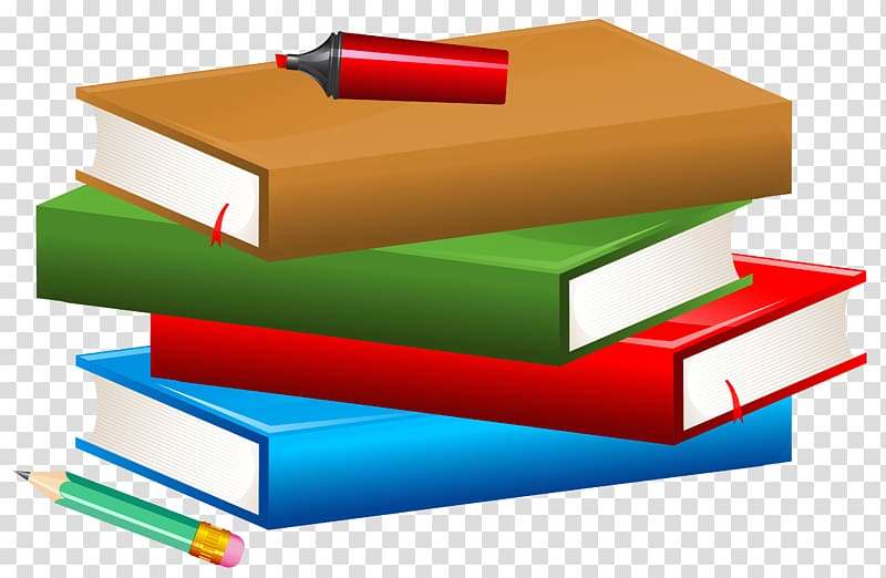 School books with pencil. Textbook clipart paper book