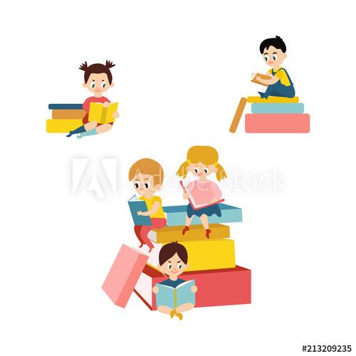 Textbook clipart preschool book. Vector cartoon small blonde