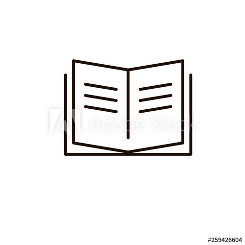 Vector icon open magazine. Textbook clipart thin book