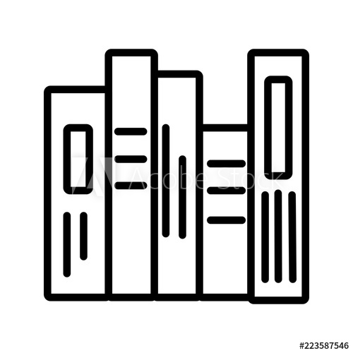 Books stack linear icon. Textbook clipart thin book