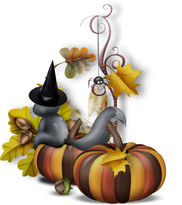 Tube chat citrouilles cluster. Thanks clipart halloween