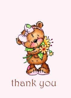 Sweet teddy bear cards. Thanks clipart thank you card