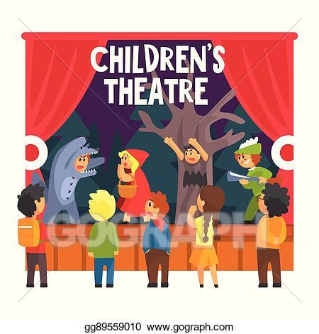 Theatre clipart drama scene. Vector red hood fairy