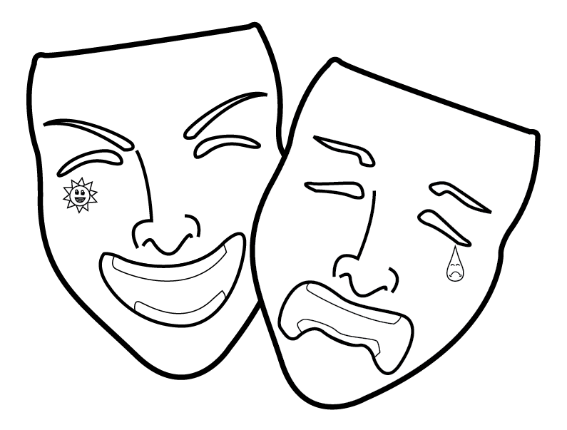 Theatre clipart faced. Free happy and sad