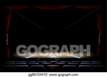 Theatre clipart footlights. Eps vector stage and