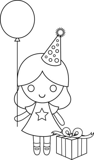 Thermometer clip art coloring page. Birthday drawing for kids