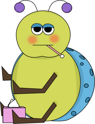 Flu bug image. Thermometer clip art sick