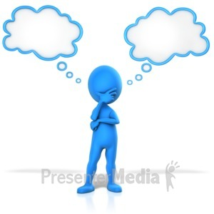 Thoughts clipart. Figure pondering two