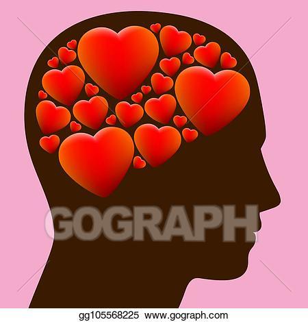 Vector lovestruck brain hearts. Thoughts clipart full