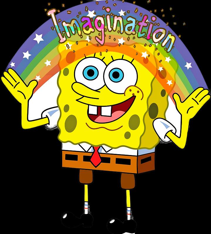 Thoughts clipart imagination. Scwords words spongebob rainbow