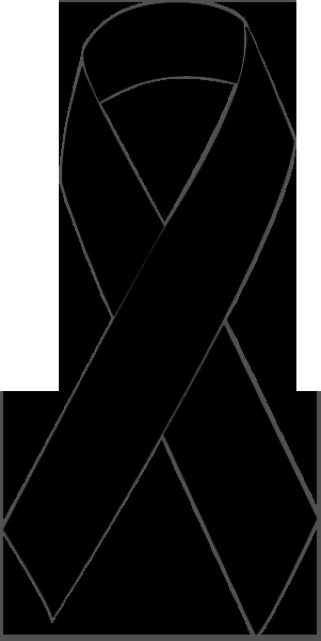 Clip Art of a Black Awareness Ribbon