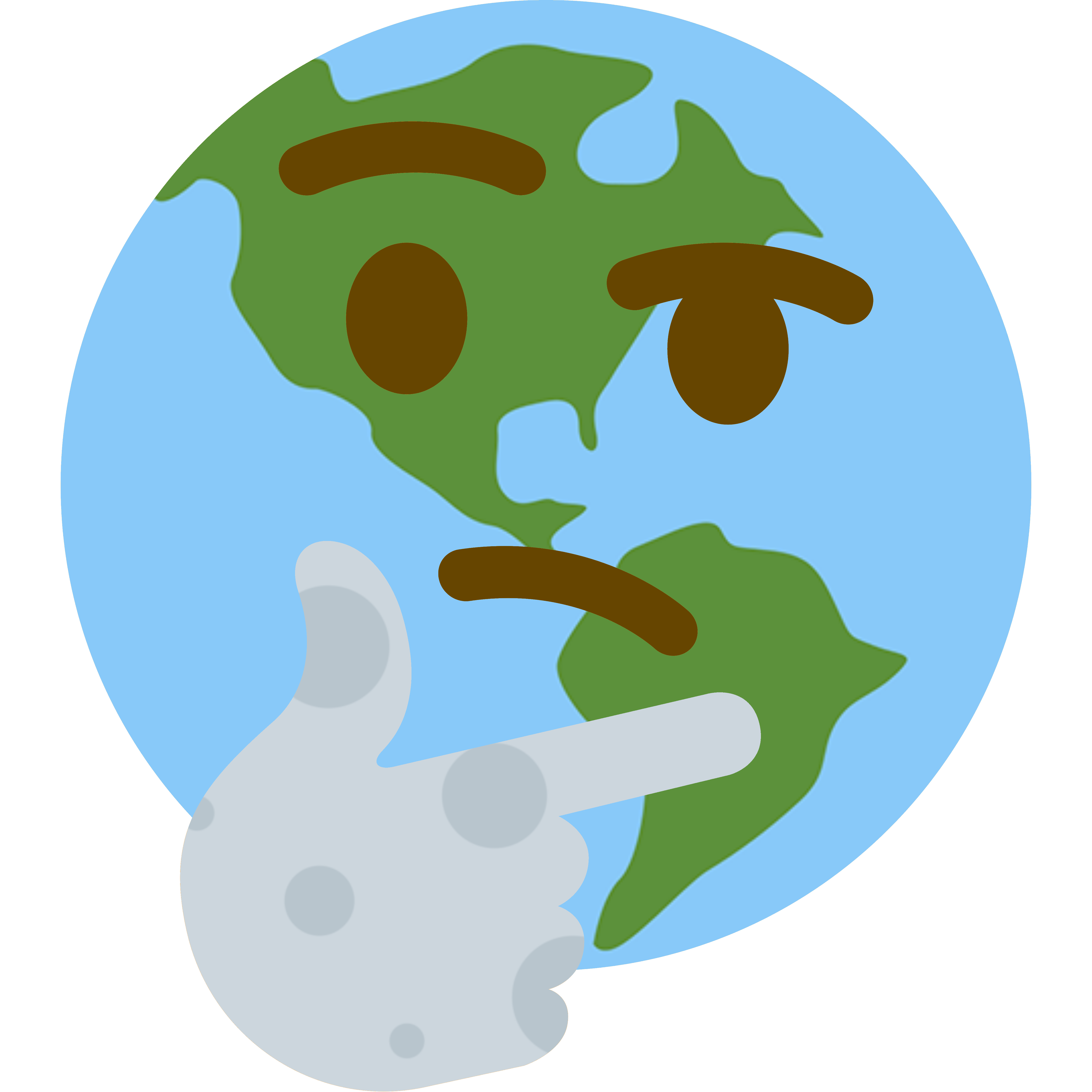 Thoughts clipart questioned face. Earth hmm thinking emoji