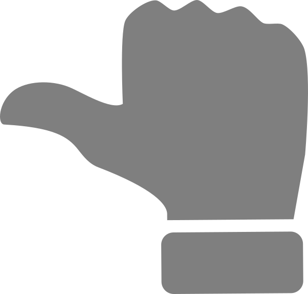 Thumb clipart white glove. Thumbs hor icon grey