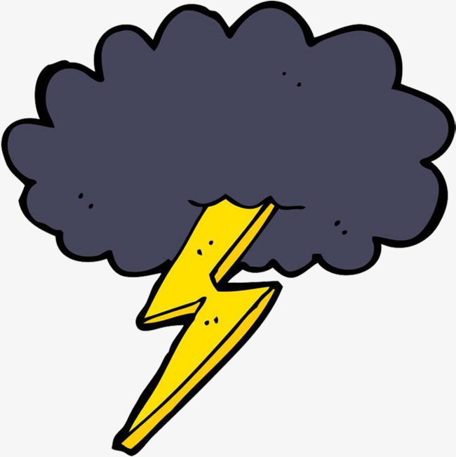 Cartoon thunderstorms lightning thunder. Thunderstorm clipart