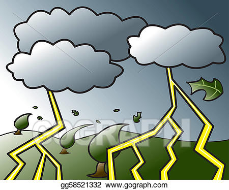 Thunderstorm clipart. Vector stock coming clip