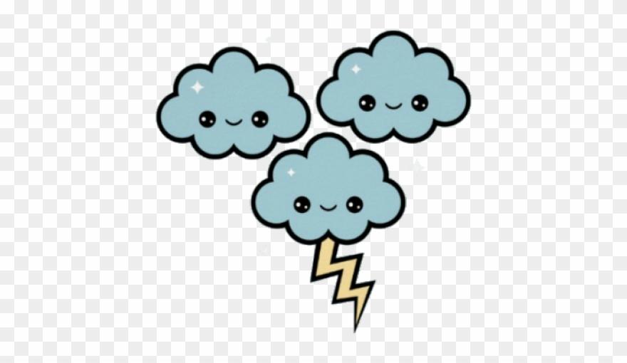 Thunder kawaii storm png. Thunderstorm clipart cute