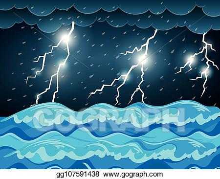 Thunderstorm clipart illustration. Vector at the sea