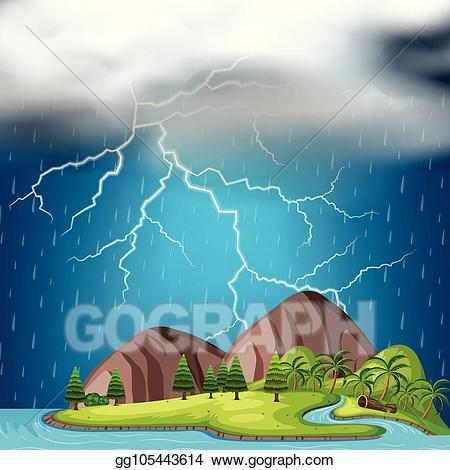 Vector stock an island. Thunderstorm clipart illustration