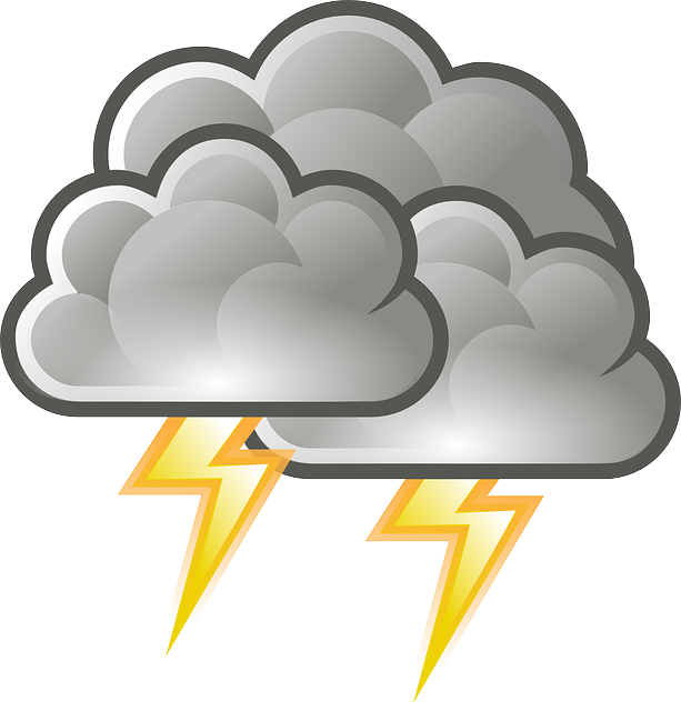 Uncooperative weather behind the. Thunderstorm clipart scared
