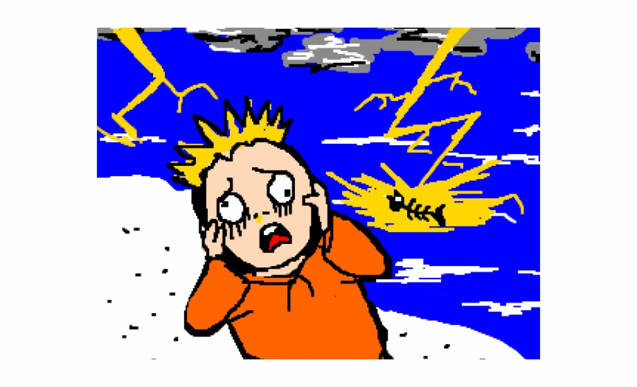 Thunderstorm clipart scared. Afraid cartoon free png