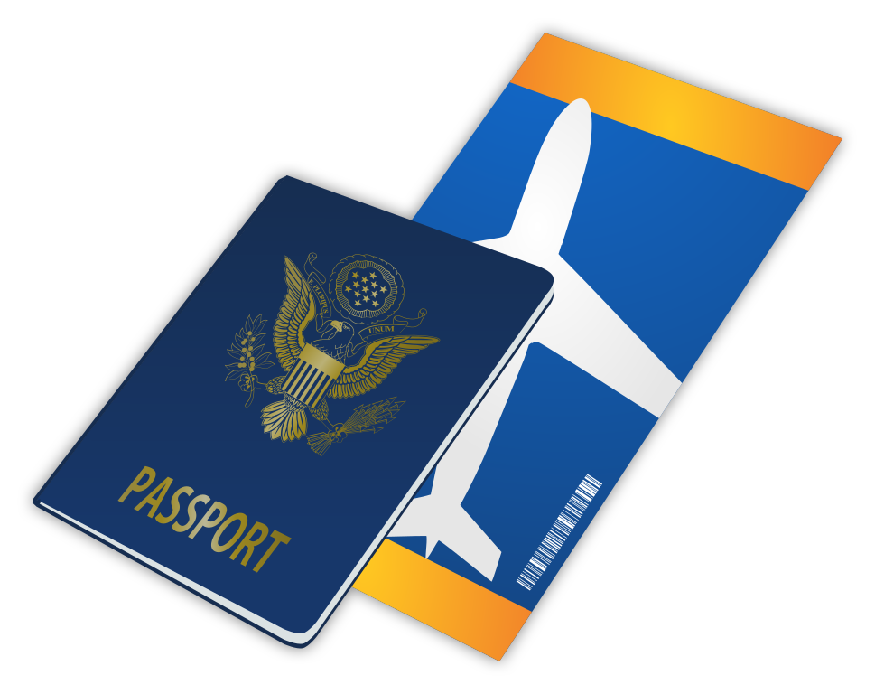 File passport and airline. Tickets clipart airplane ticket