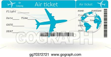 Traveling clipart plane ticket. Vector art variant of