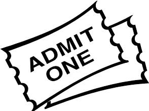 Tickets clipart admit one. Movie ticket black and