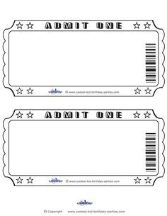 Blank printable admit one. Ticket clipart outline
