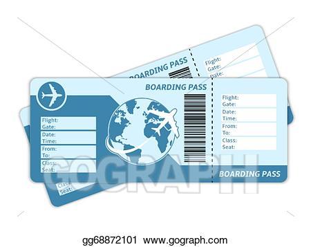 Vector blank tickets illustration. Ticket clipart plane ticket