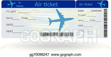 Ticket clipart plane ticket. Vector art variant of