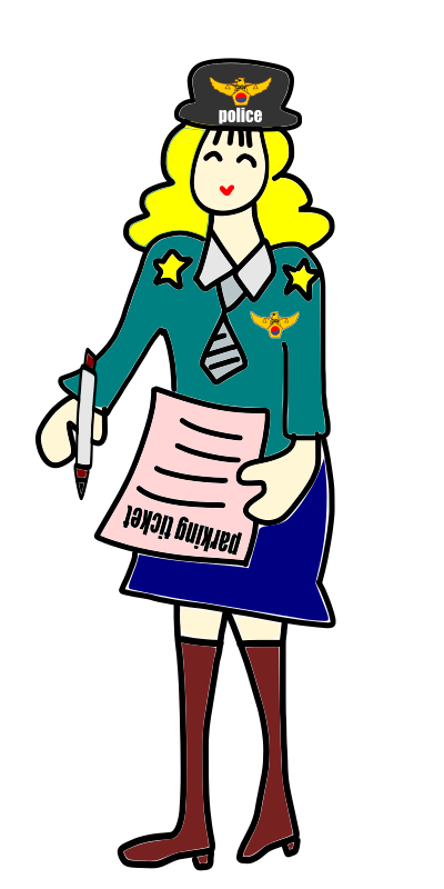 Ticket clipart police. Officer woman with a