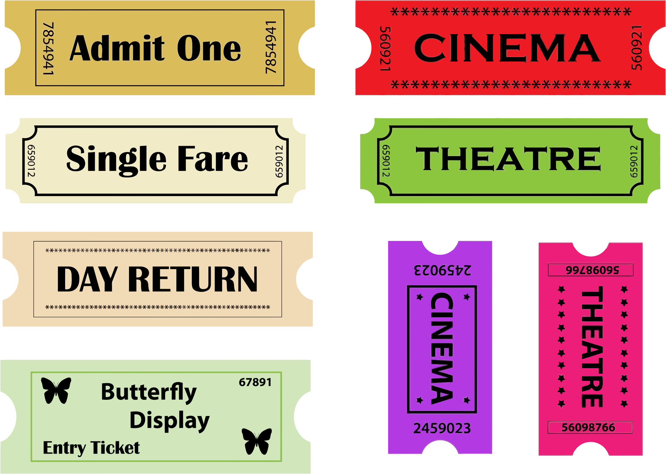Theater tickets big image. Ticket clipart single