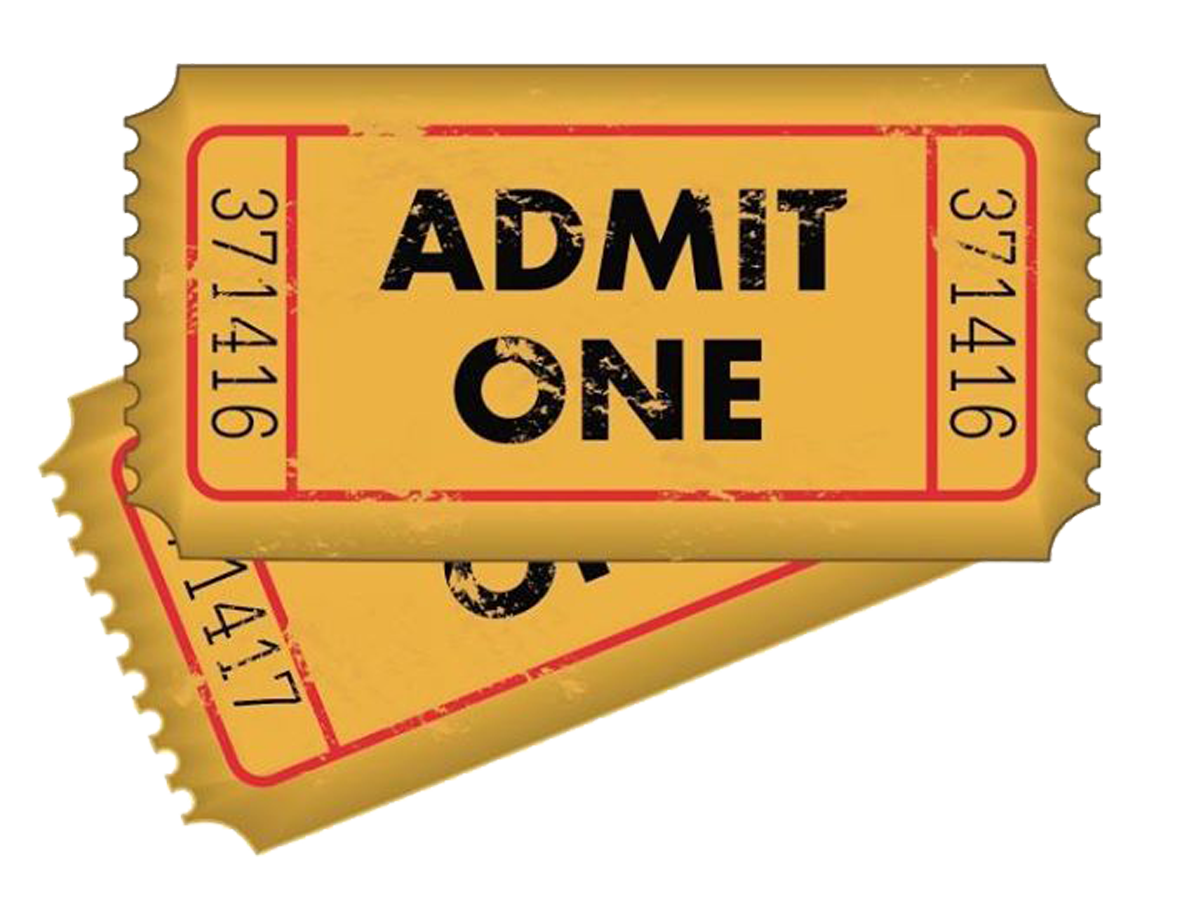 Tickets clipart admit one. Buy for inevitable shows