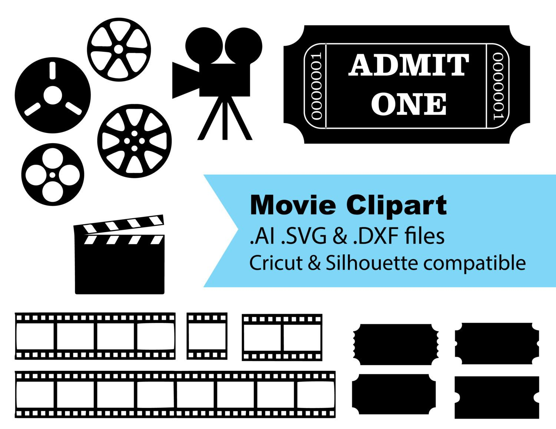 Ticket clipart svg. Silhouette cricut compatible movie