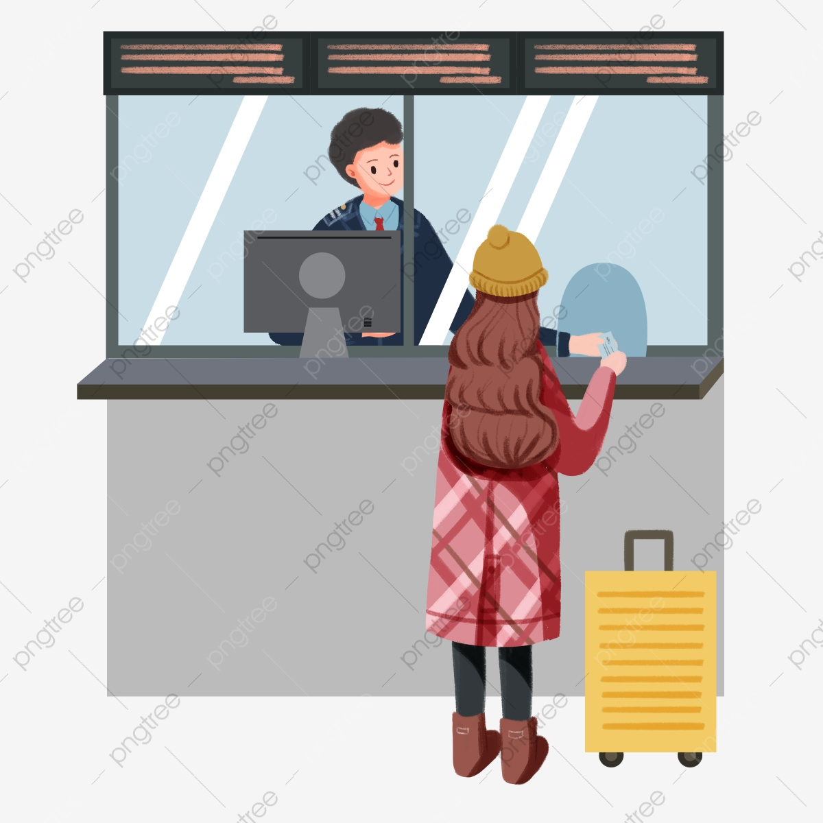 Ticket clipart ticket seller. Yellow suitcase girl buying