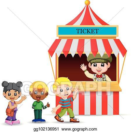 Vector illustration cartoon boy. Ticket clipart ticket seller