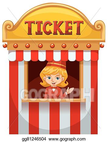 Eps vector woman selling. Ticket clipart ticket seller