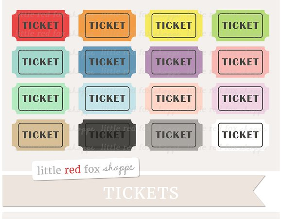 Ticket illustrations creative market. Tickets clipart