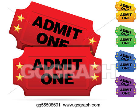 Tickets clipart. Vector art classic movie