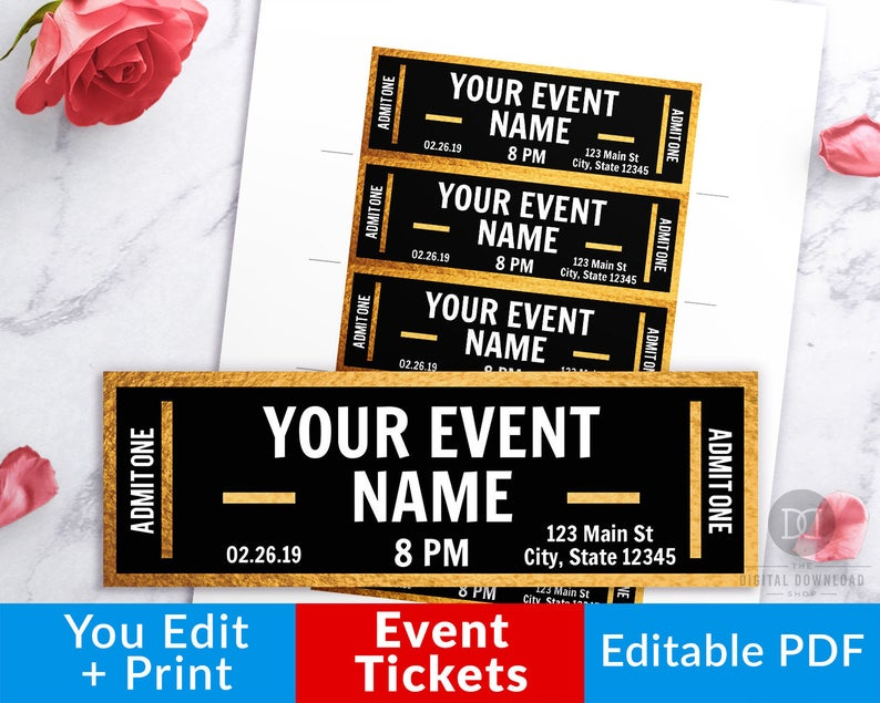 Tickets clipart fake. Gold event ticket printables
