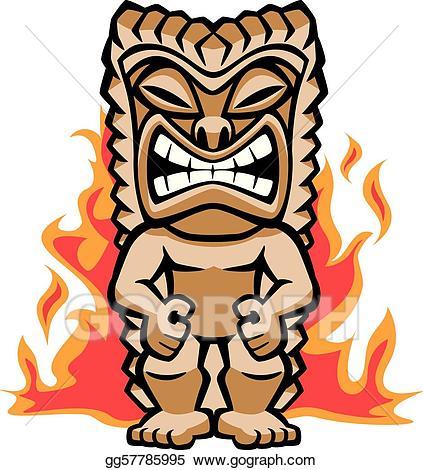 Tiki clipart fierce. Vector warrior illustration