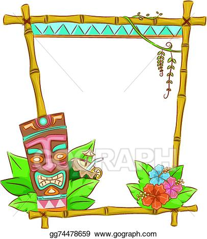 Tiki clipart frame. Vector stock illustration gg