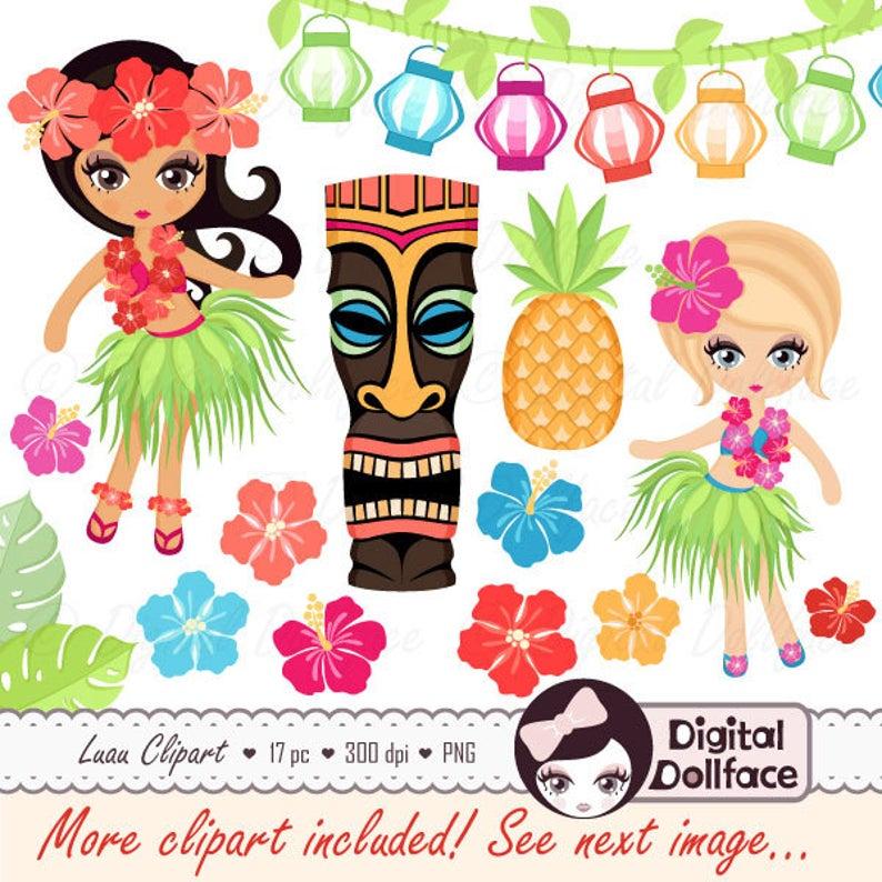Luau hula girl hibiscus. Tiki clipart fruit hawaiian
